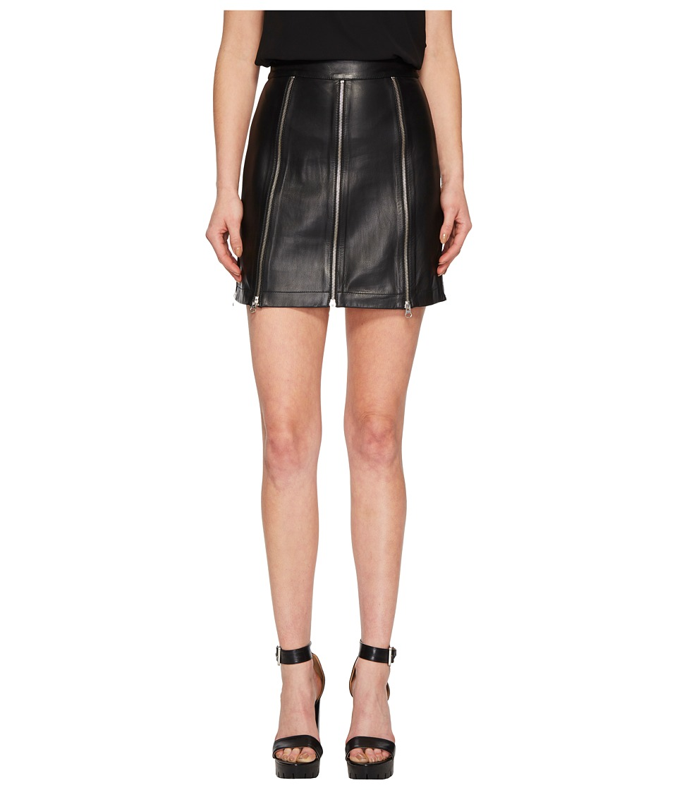 McQ - Zip Leather Skirt (Black) Womens Skirt