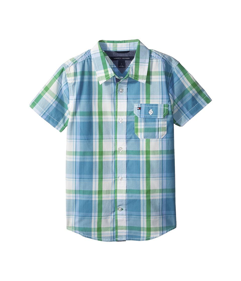Tommy Hilfiger Kids - Short Sleeve Doug Yarn-Dye Shirt (Toddler/Little Kids) (Blue Moon) Boys Clothing