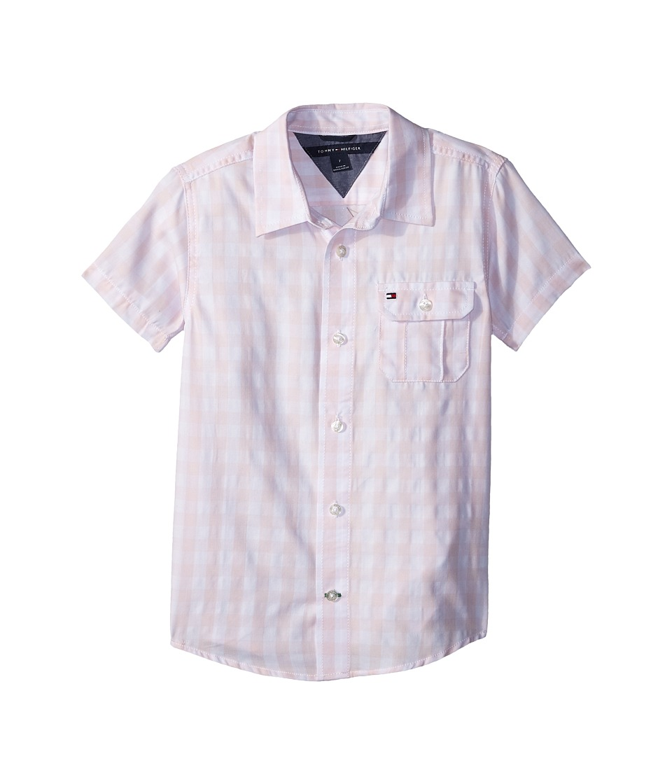 Tommy Hilfiger Kids - Short Sleeve Ryan Yarn-Dye Plaid Shirt (Toddler/Little Kids) (Crystal Rose) Boys Clothing