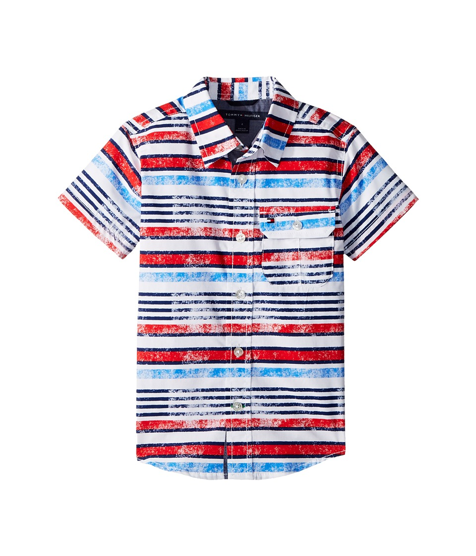 Tommy Hilfiger Kids - Short Sleeve Printed Shirt (Toddler/Little Kids) (White) Boys Clothing
