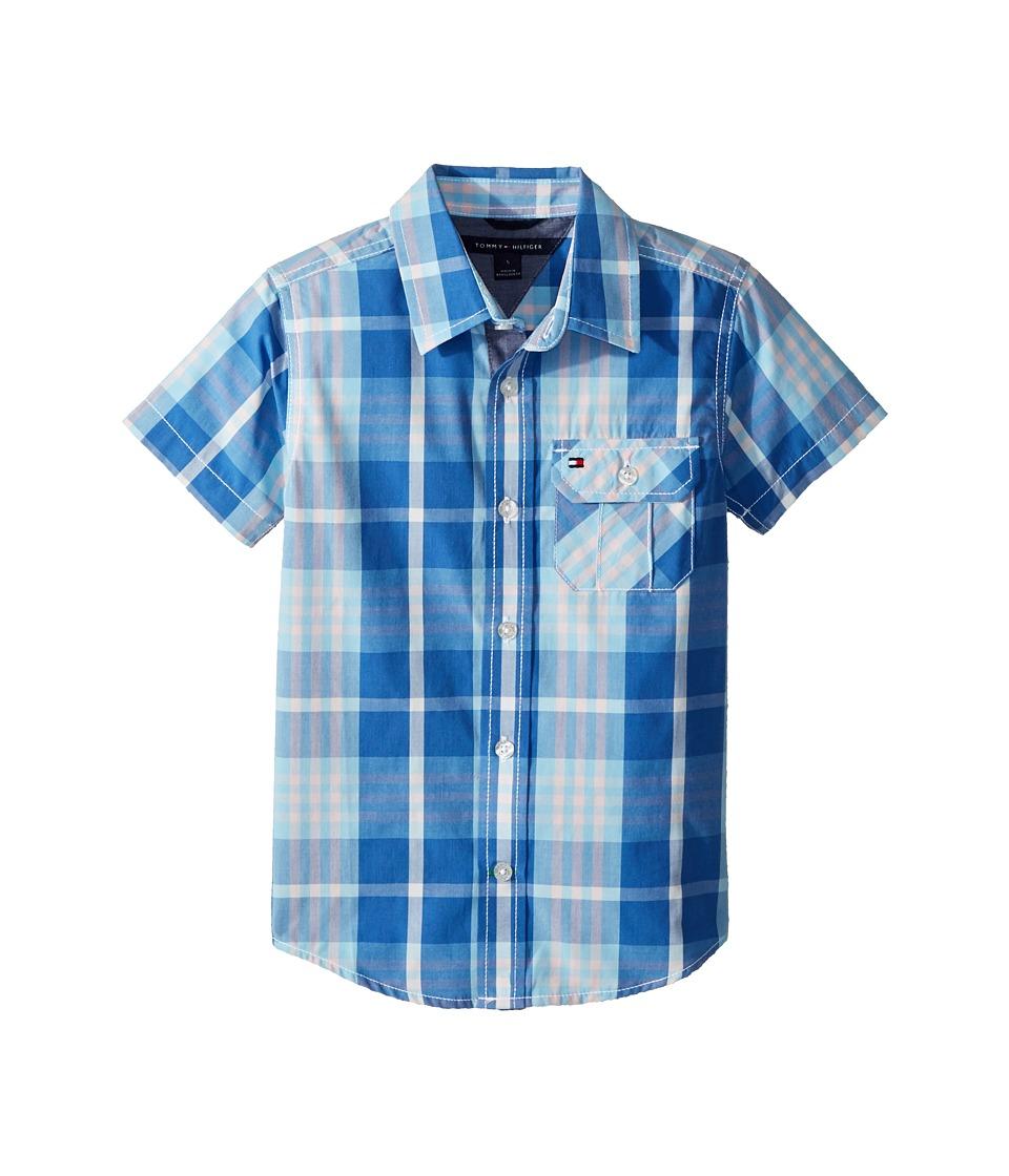 Tommy Hilfiger Kids - Short Sleeve Stan Yarn-Dye Shirt (Toddler/Little Kids) (Sky Blue) Boys Clothing