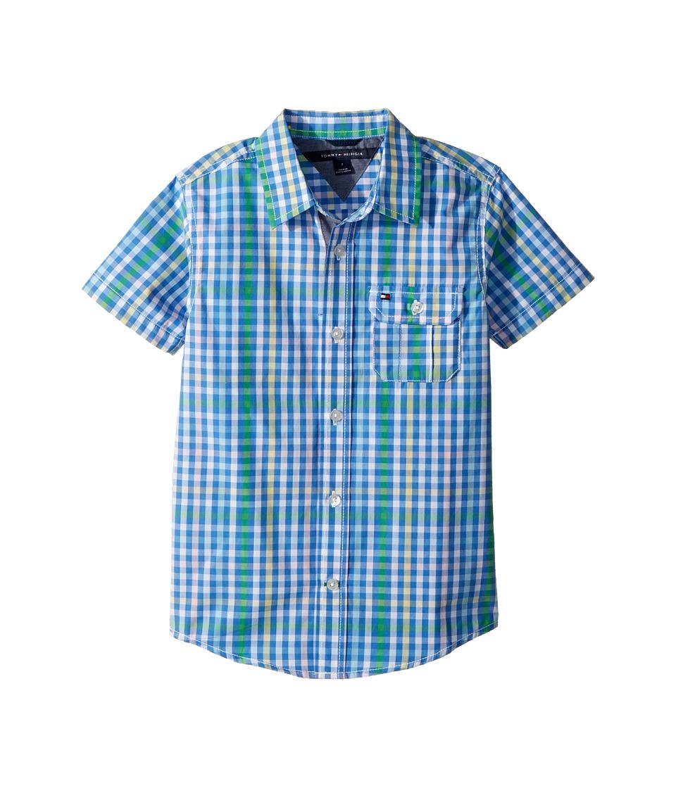 Tommy Hilfiger Kids - Short Sleeve Chris Yarn-Dye Plaid Shirt (Toddler/Little Kids) (Regatta Blue) Boys Clothing