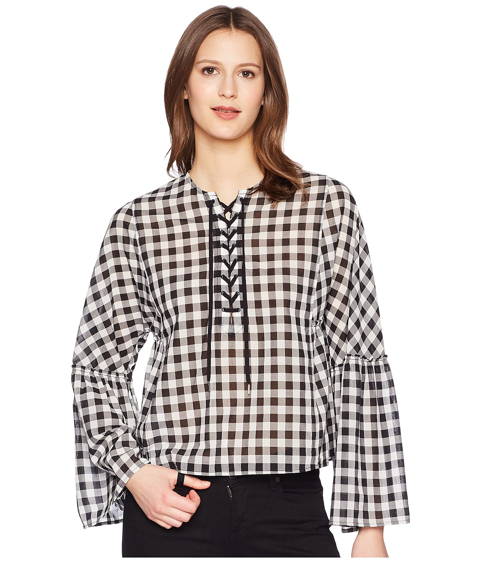 McQ - Laced Gather Sleeve Top (Black/White) Womens Clothing