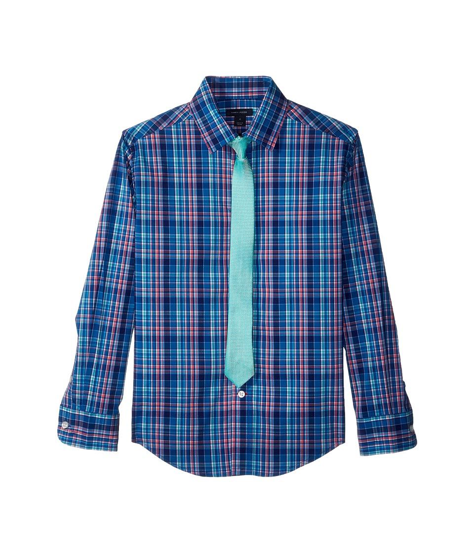 Tommy Hilfiger Kids - Long Sleeve Stretch Plaid Shirt w/ Straight Tie (Big Kids) (Regatta Blue) Boys Clothing