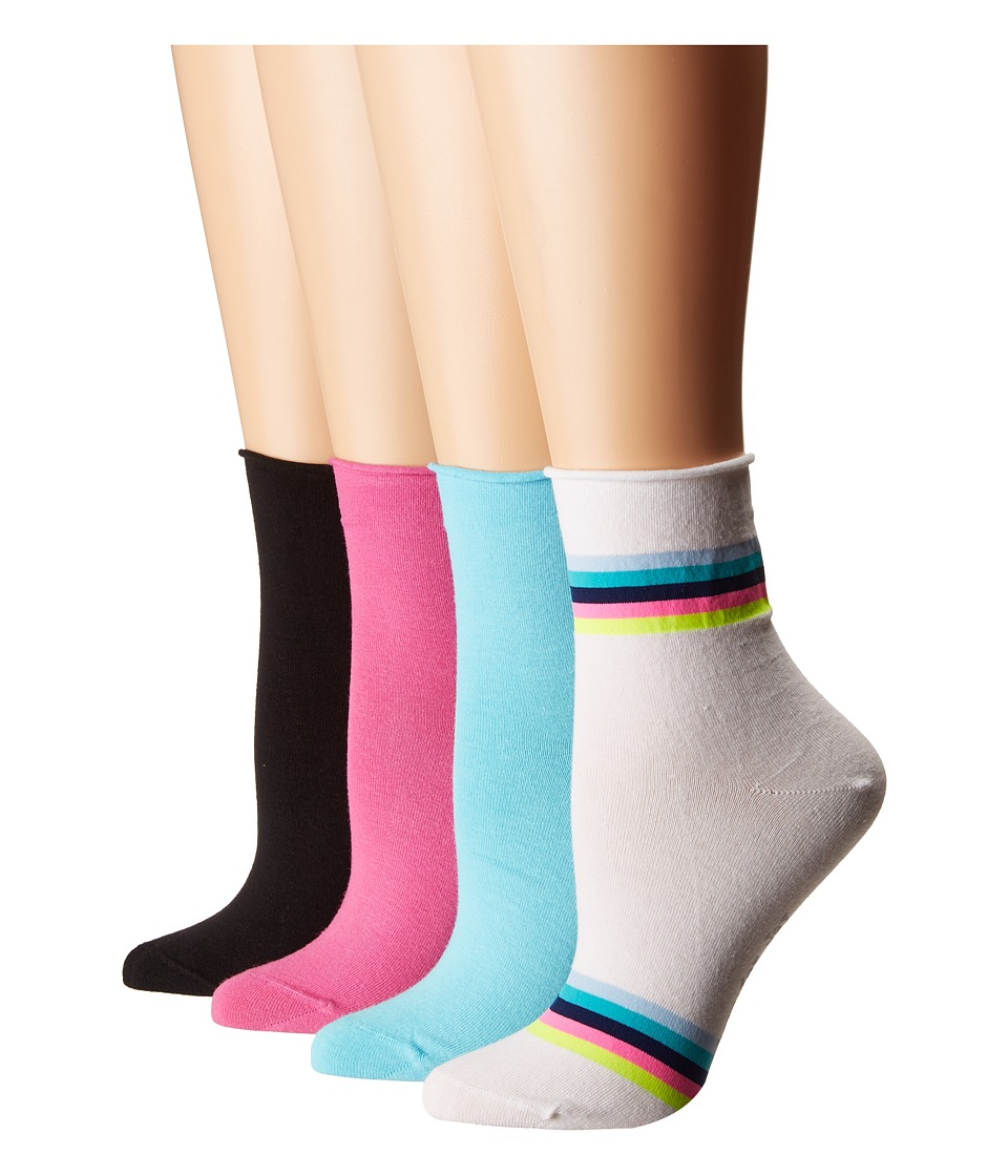 HUE - Roll Top Shortie Socks 4-Pack (White Multi Pack) Womens Crew Cut Socks Shoes