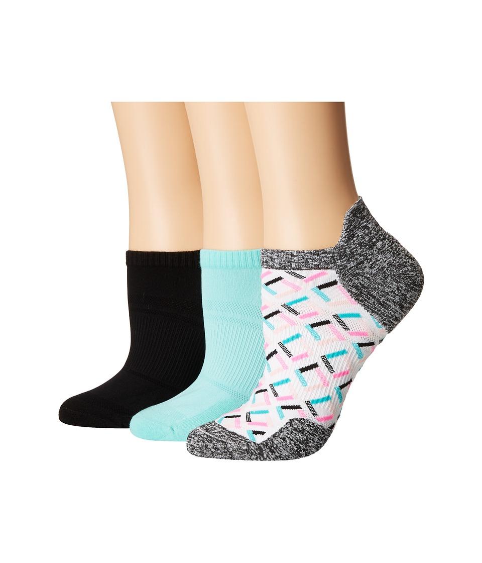 HUE - Air Sleek Tab Back Liner with Cushion 3-Pack (Seawind Pack) Womens Crew Cut Socks Shoes