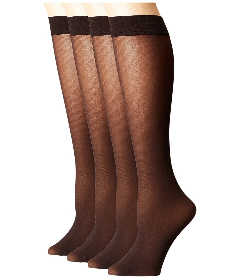 HUE Opaque Knee High 4-Pair Pack (Espresso) Women's Knee High Socks Shoes