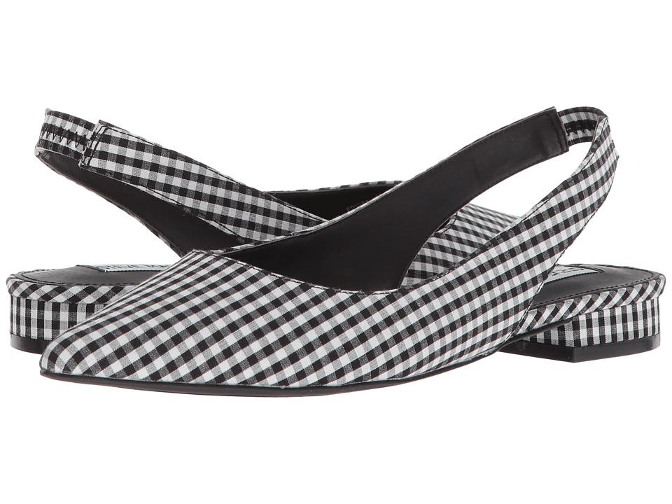 Retro Vintage Flats and Low Heel Shoes Steve Madden - Envi Black Gingham Womens Sling Back Shoes $79.95 AT vintagedancer.com