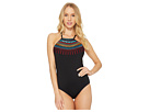 Laundry by Shelli Segal Embroidered High Neck One-Piece Swimsuit