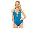 Laundry by Shelli Segal Scallop Lace Plunge One-Piece Swimsuit