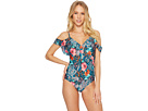 Laundry by Shelli Segal Floral Paisley Ruffle Plunge One-Piece Swimsuit