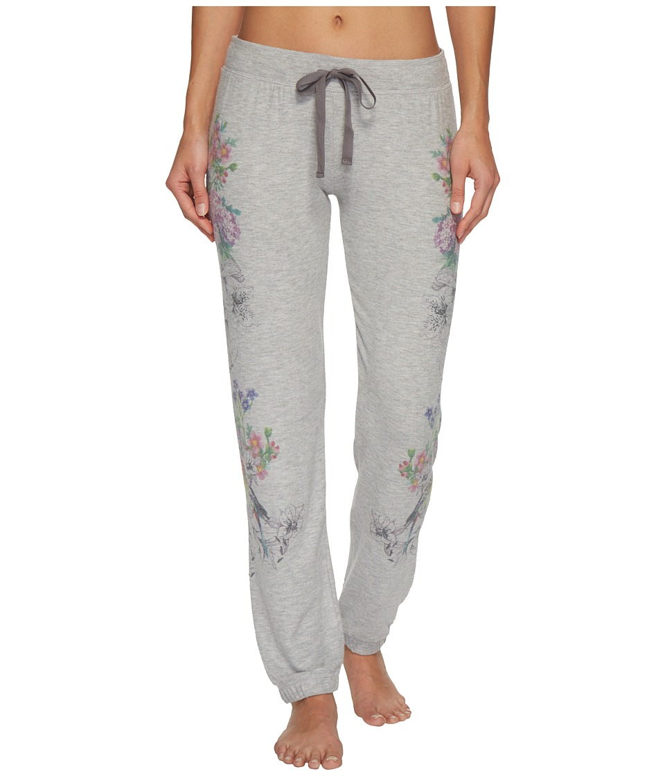 P.J. Salvage - Floral Bird Joggers (Heather Grey) Womens Pajama
