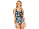 Laundry by Shelli Segal Floral Paisley Cut Out One-Piece Swimsuit