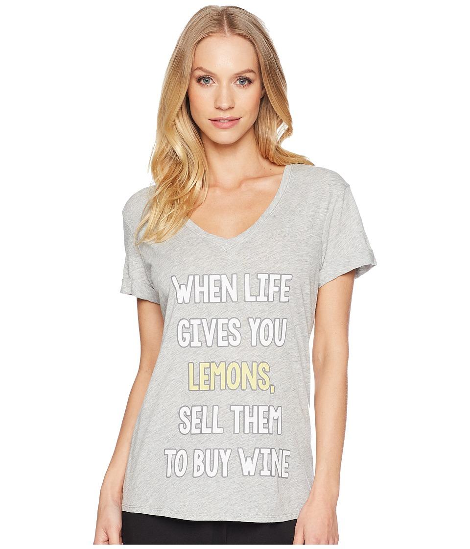P.J. Salvage - Playful Prints Lemon T-Shirt (Heather Grey) Womens T Shirt