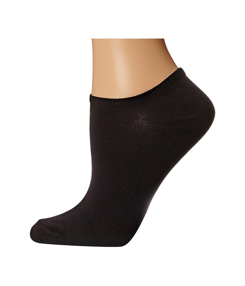 HUE - Microfiber Liner 6 Pair Pack (Black) Womens Low Cut Socks Shoes