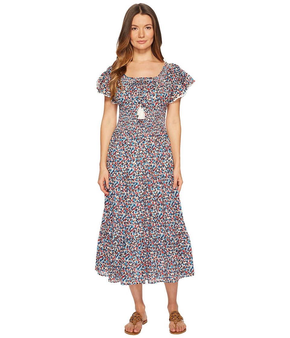 Tory Burch Swimwear Wildflower Smocked Dress Cover-Up 45840-986