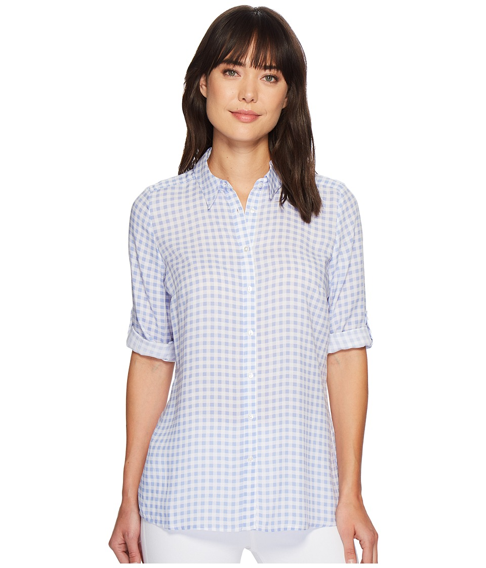 FDJ French Dressing Jeans - Gingham Print Tab Up Sleeve Tunic (Chambray) Womens Long Sleeve Button Up