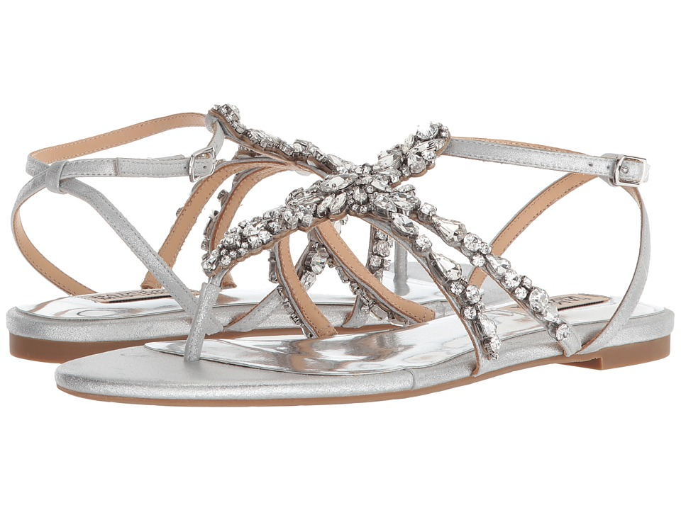 Badgley Mischka Hampden (Silver Metallic Suede) Sandals