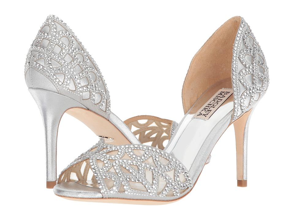 Badgley Mischka Harris (Silver Metallic Suede) High Heels