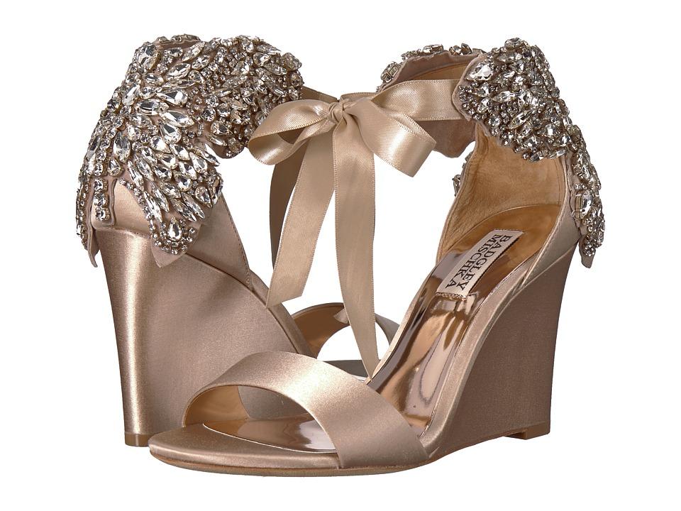 Badgley Mischka - Heather (Nude Satin) Womens Wedge Shoes
