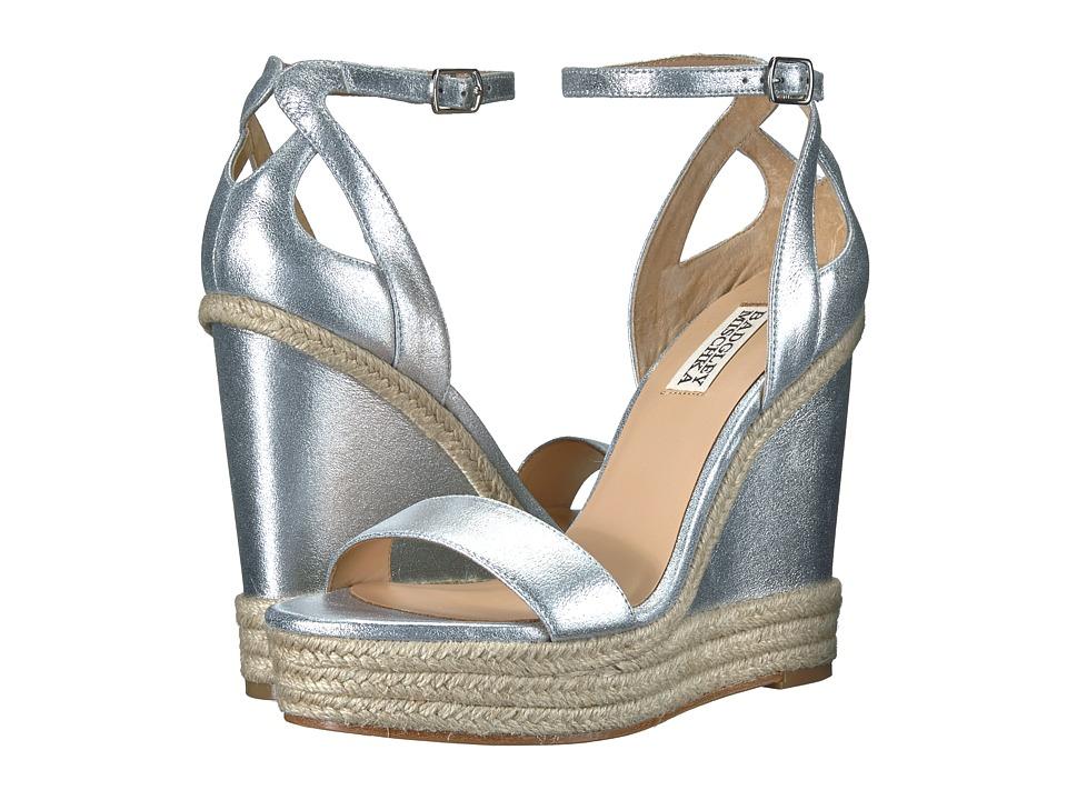 Badgley Mischka - Honest (Silver Metallic Suede) Womens Wedge Shoes
