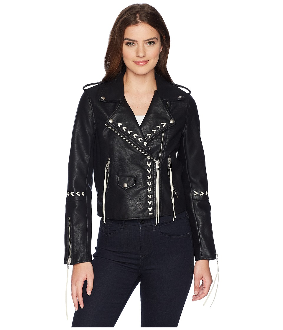 Blank NYC - Bonded Vegan Leather Jacket with Lacing Detai...
