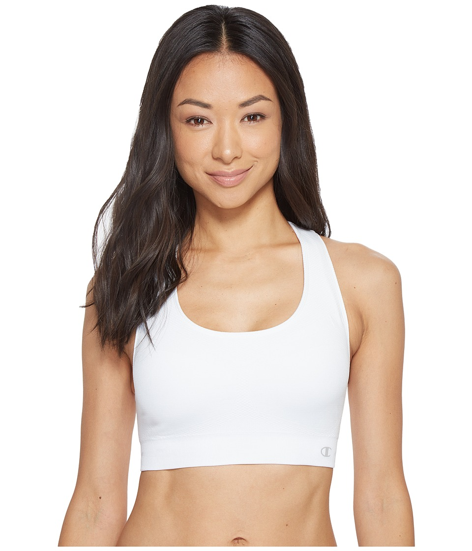 Champion - Double Dry(r) Seamless Racer-Back Sports Bra (White) Womens Bra