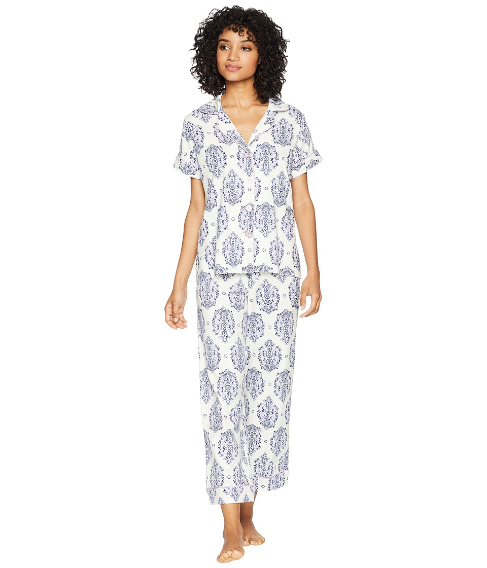 BedHead - Short Sleeve Classic Cropped Pants Two-Piece Pajama Set (Navy/Lilac Casa Paisley) Womens Pajama Sets