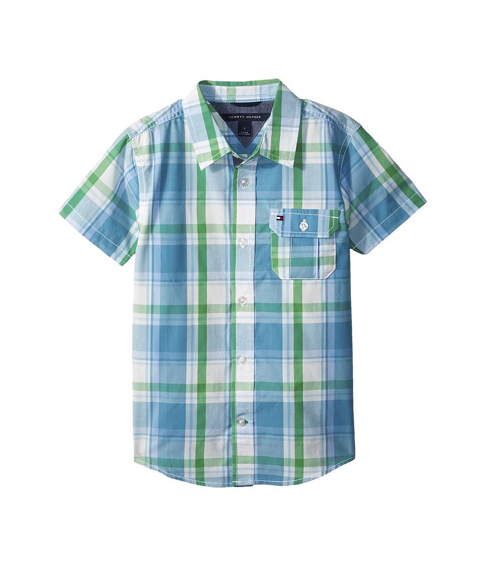 Tommy Hilfiger Kids - Short Sleeve Doug Yarn-Dye Shirt (Big Kids) (Blue Moon) Boys Clothing