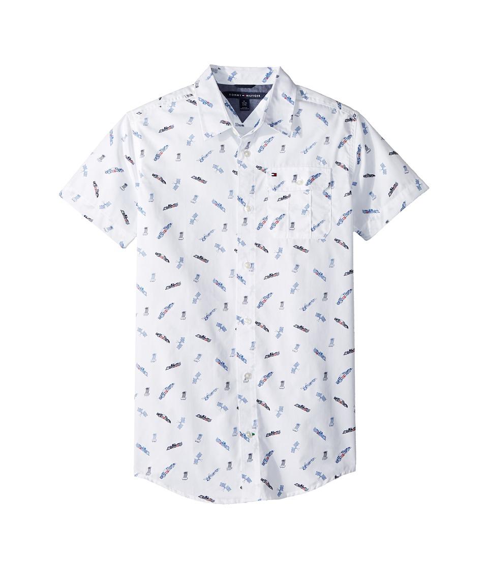Tommy Hilfiger Kids - Short Sleeve Jack Printed Shirt (Big Kids) (White) Boys Clothing