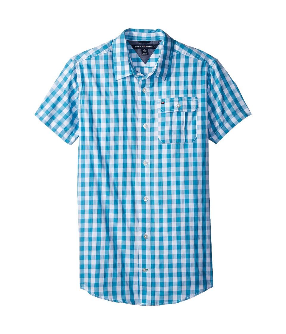 Tommy Hilfiger Kids - Short Sleeve Ryan Yarn-Dye Plaid Shirt (Big Kids) (Blue Moon) Boys Clothing