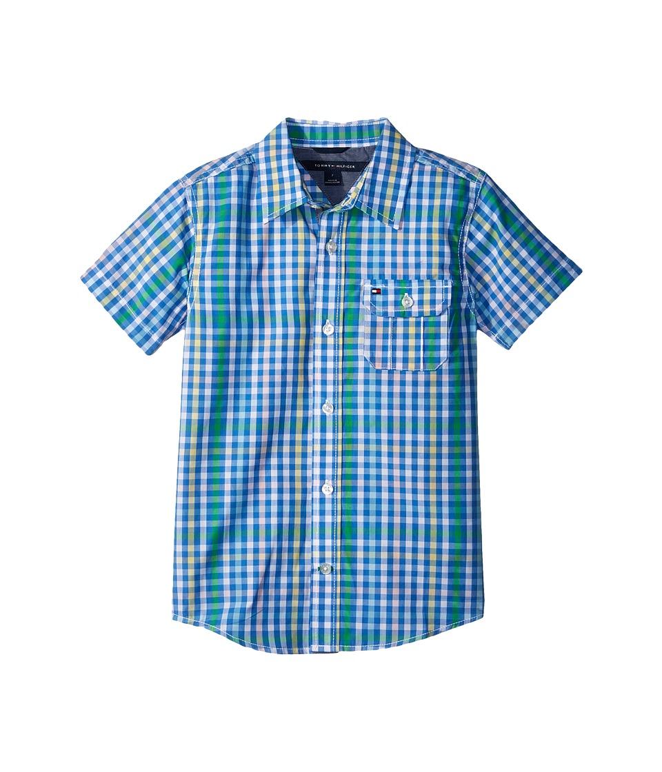 Tommy Hilfiger Kids - Short Sleeve Chris Yarn-Dye Plaid Shirt (Big Kids) (Regatta Blue) Boys Clothing