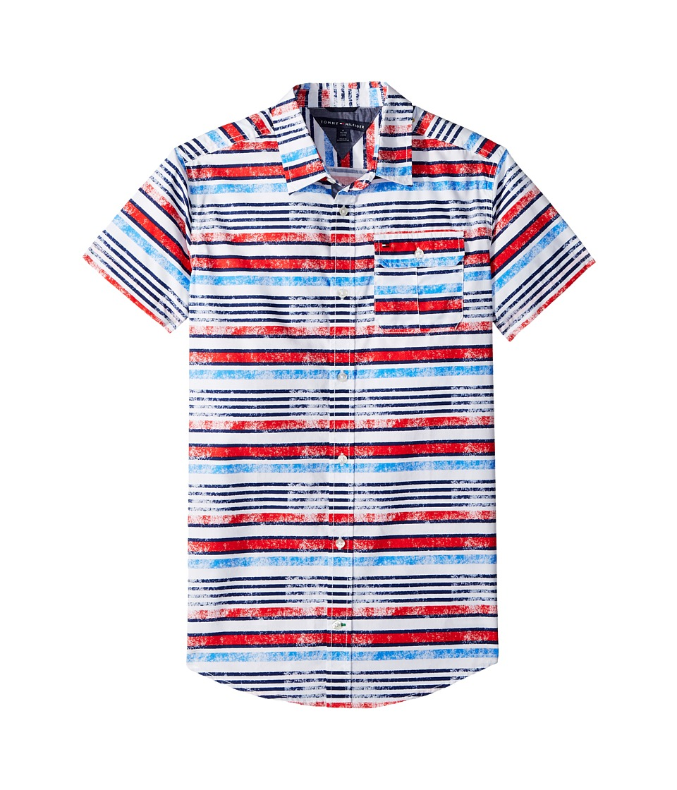 Tommy Hilfiger Kids - Short Sleeve Printed Shirt (Big Kids) (White) Boys Clothing