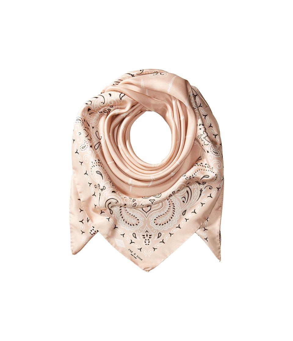 rag & bone - Bandana Print Dagger Scarf (Dusty Rose Multi) Scarves