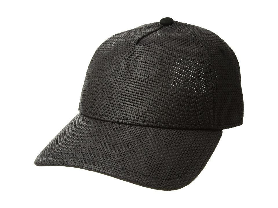 rag & bone - Marilyn Baseball Cap (Black Straw) Caps