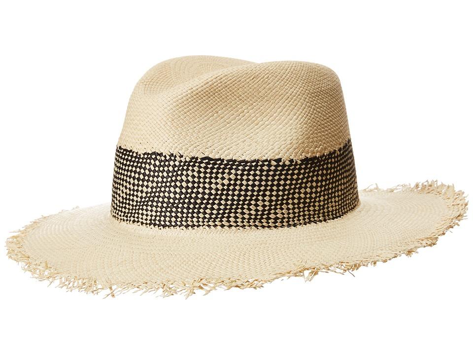 rag & bone - Frayed Edge Panama Hat (Black Multi) Caps