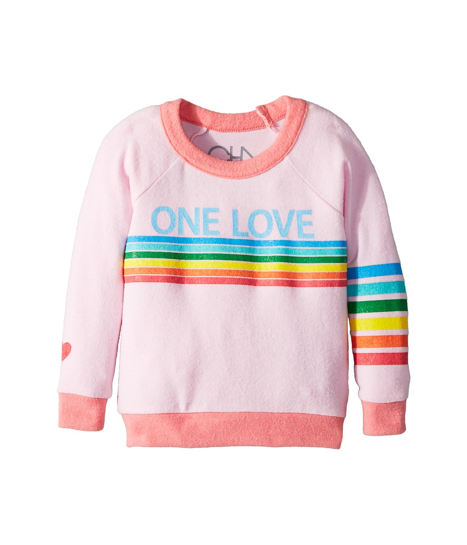 Chaser Kids - Love Knit Raglan One Love Pullover (Toddler/Little Kids) (Pink Cloud/Flamingo) Girls Clothing