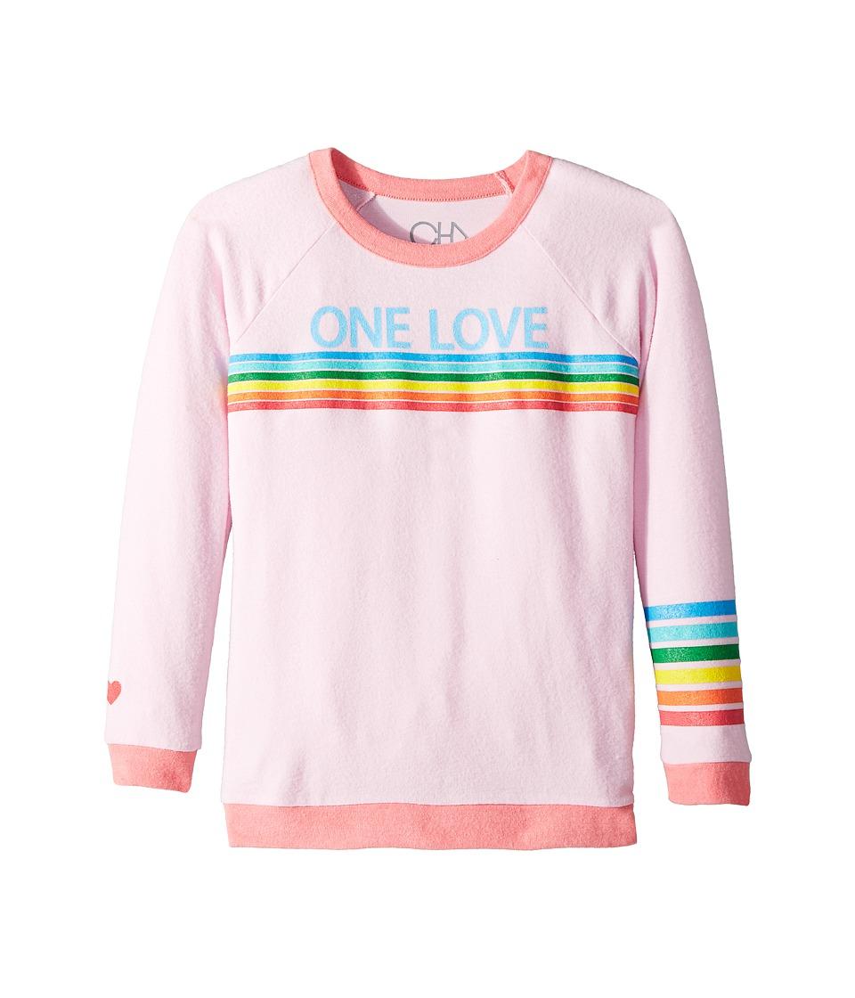 Chaser Kids - Love Knit Raglan One Love Pullover (Little Kids/Big Kids) (Pink Cloud/Flamingo) Girls Clothing