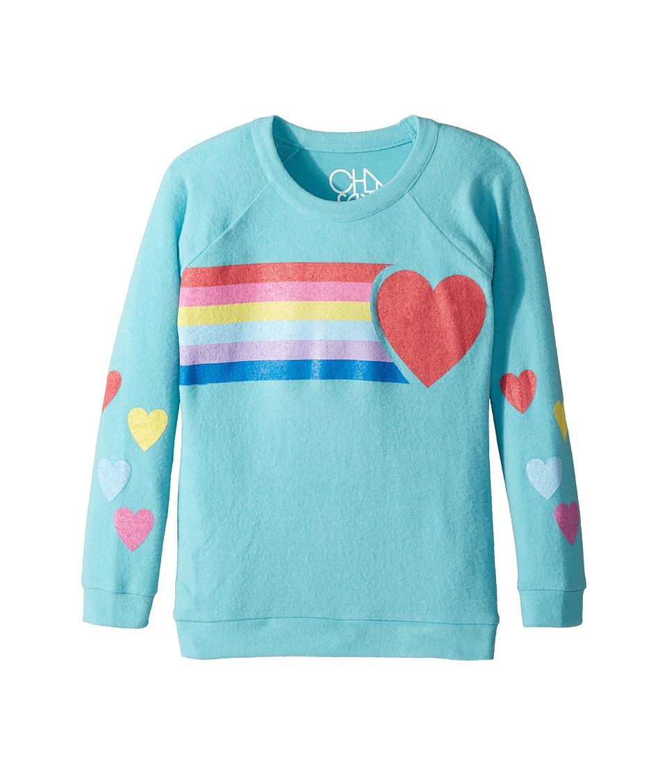 Chaser Kids - Super Soft Love Knit Raglan Rainbow Heart Pullover (Little Kids/Big Kids) (Island) Girls Clothing