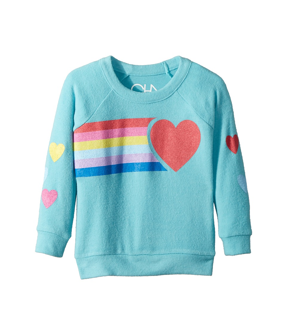 Chaser Kids - Love Knit Raglan Rainbow Heart Pullover (Toddler/Little Kids) (Island) Girls Clothing