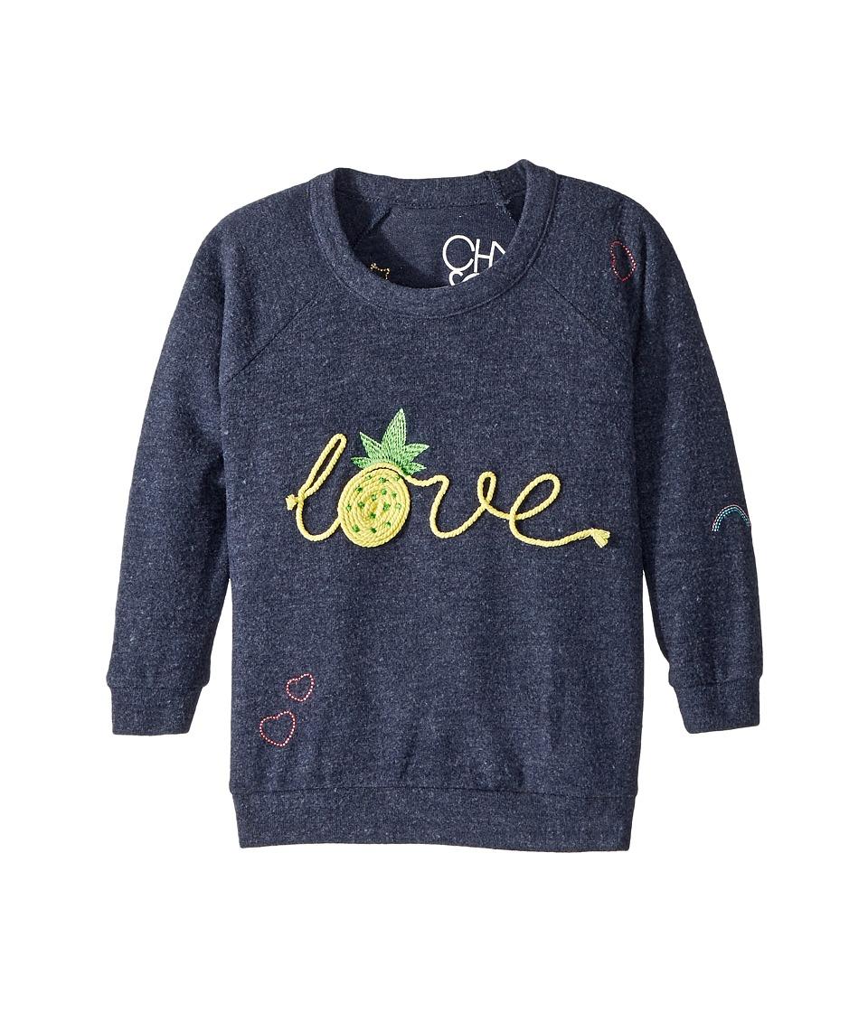 Chaser Kids - Love Knit Raglan Pineapple Love Pullover (Toddler/Little Kids) (Avalon) Girls Clothing
