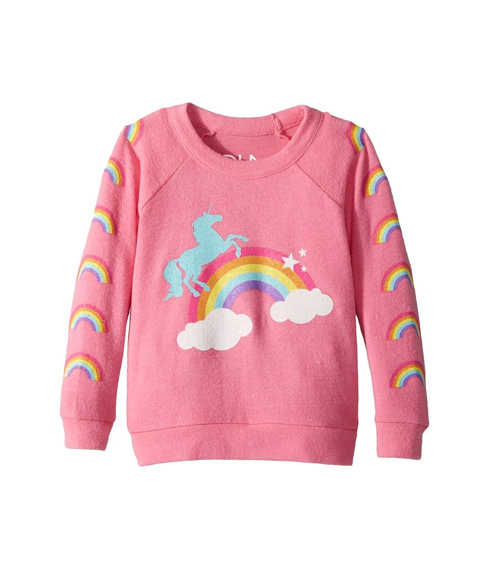 Chaser Kids - Love Knit Raglan Unicorn Rainbow Pullover (Toddler/Little Kids) (Princess Pink) Girls Clothing