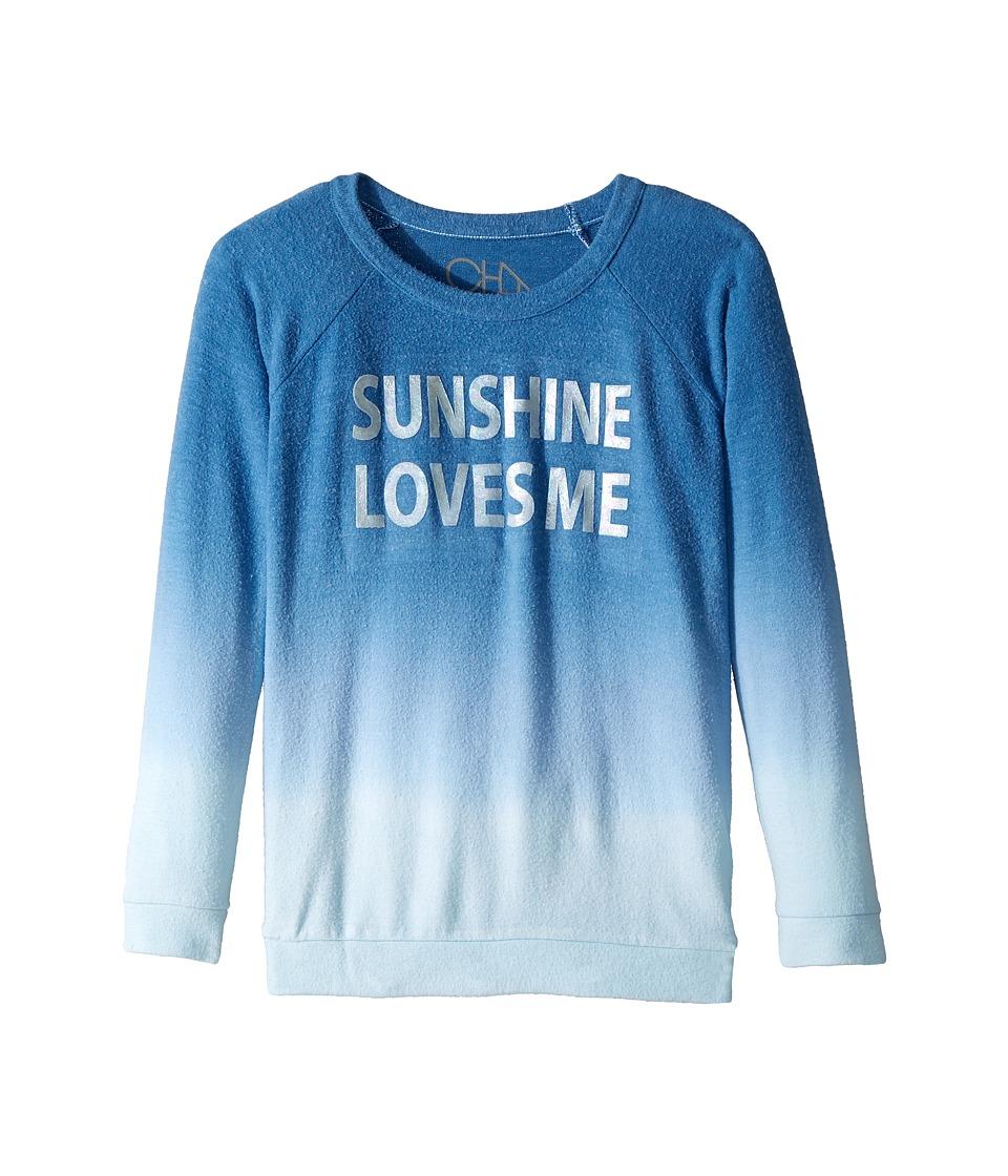 Chaser Kids - Love Knit Raglan Sunshine Loves Me Pullover (Little Kids/Big Kids) (Ombre) Girls Clothing