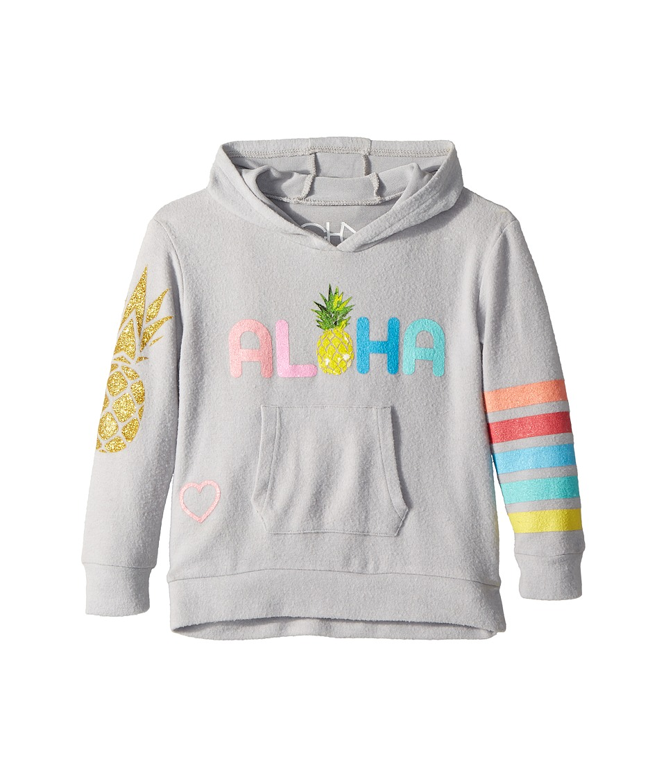 Chaser Kids - Love Knit Aloha Pina Pocket Hoodie (Toddler/Little Kids) (Misty) Girls Sweatshirt