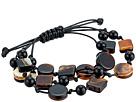 Kenneth Jay Lane 3 Row Black/Marble/Tortoise Multi Shape Bracelet