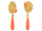 Kenneth Jay Lane Satin Gold w/ Crystal Dots and 12mm Coral Drop Seashell Clip Earrings