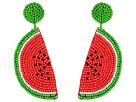 Kenneth Jay Lane Watermelon Slice Seedbead Post Earrings