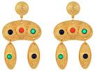Kenneth Jay Lane 2.5 Satin Gold Multicolor Cabachon Double Drop Pierced Earrings