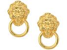 Kenneth Jay Lane Polished Gold Lion Head Doorknocker Pierced Earrings