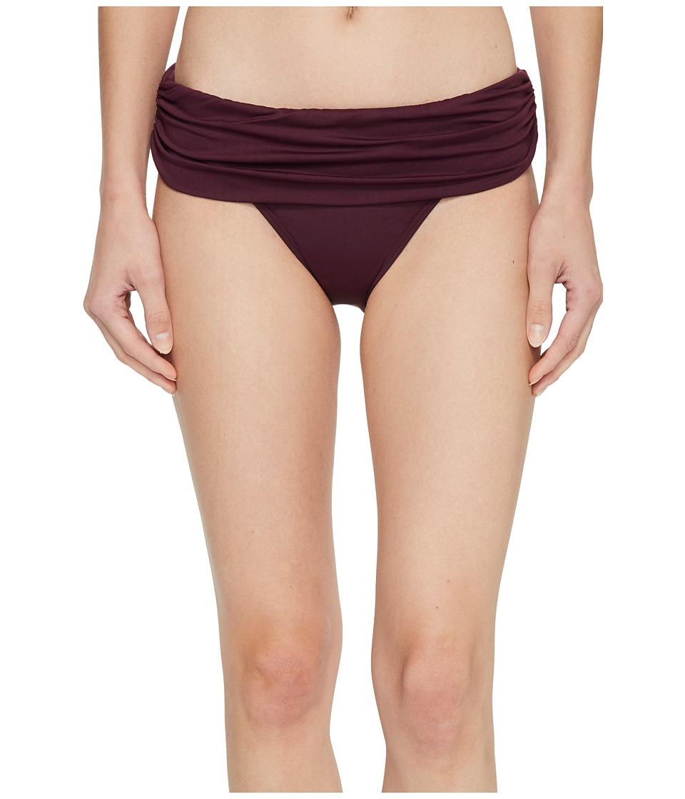 LAUREN Ralph Lauren Beach Club Solids Wide Shirred Banded Hipster Bottom (Burgundy)